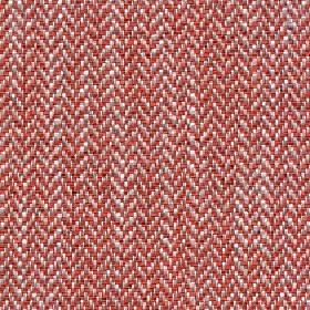 Talia - Tigerlilly - Fabric made from linen, viscose, polyester and cotton with a small herringbone design woven in terracotta, beige and whit
