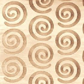 Antonio - Bamboo - Individual warm light brown coloured swirls arranged in rows on a blush pink 100% polyester fabric background