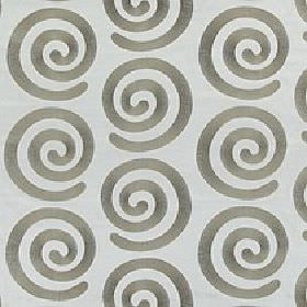 Antonio - Latte - Pale blue 100% polyester fabric behind an iron grey coloured design of stylish individual swirls