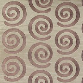 Antonio - Russet - Elegant swirls repeatedly patterning 100% polyester fabric in purple-grey and steel grey colours
