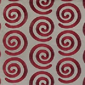 Antonio - Garnet - Luxurious burgundy coloured swirls repeatedly patterning a steel grey coloured 100% polyester fabric background