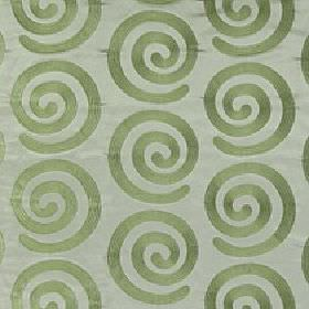 Antonio - Palm - Light grey fabric made rom 100% polyester behind a simple, elegant swirl pattern in a light shade of dusky green