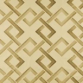Sebastian - Honey - Light shades of beige and brown making up a geometric interlocking square design on cream polyester-linen fabric