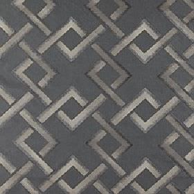 Sebastian - Steeple Grey - A simple geometric design of interlocking squares printed on polyester-linen fabric in various dark shades of gre