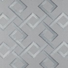 Sebastian - Platinum - Light shades of grey making up a polyester and linen blend fabric with a geometric interlocking square design