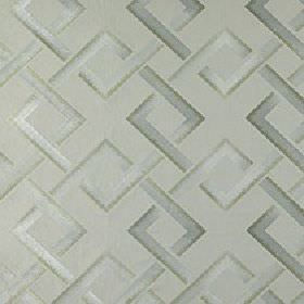 Sebastian - Tarragon - Fabric made from polyester & linen with a geometric design of interlocking squares made in various light shades of gr
