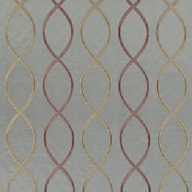 Alonso - Bronze - Chrome grey and dusky purple coloured overlapping wavy lines making up a helix design on blue-grey 100% polyester fabric