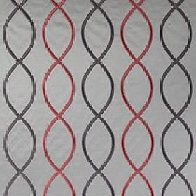 Alonso - Berry - Light grey fabric made from 100% polyester, with a black and dark red helix style design of overlapping wavy lines