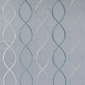 Alonso - Blue Haze - Three elegant blue-grey shades making up a helix style overlapping wavy line design on 100% polyester fabric