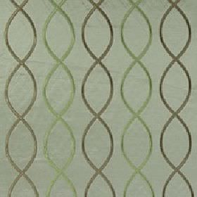 Alonso - Fern - Fabric made from jade coloured 100% polyester, with a helix style overlapping wavy line design in khaki and light green