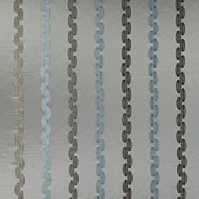 Stephano - Adriatic - Dashed vertical lines made in charcoal and elegant duck egg blue, on a blue-grey 100% polyester fabric background