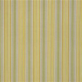 Esporles - Ochre - Vertically striped fabric made from linen and cotton with a regular design in citrus, grass green and light grey shades