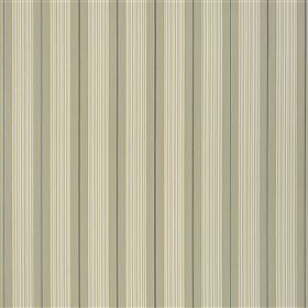 Talera - Navy - Cream, light grey and dark blue shades making up a regualar, repeated vertical stripe pattern on 100% cotton fabric