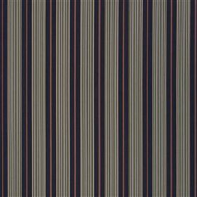 Talera - Marine - Fabric made from purple, navy, light grey-green & off-white 100% cotton with a regular, repeated vertical stripe pattern