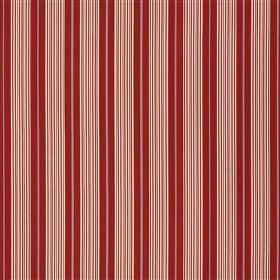 Talera - Poppy - 100% cotton fabric made with a simple, regular, repeated vertical stripe pattern in shades of bright red and salmon pink