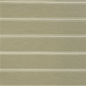 Manacor - Jute - Thin cream coloured stripes running evenly across light green-grey fabric blended from several different materials