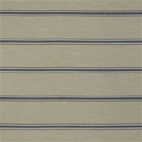 Manacor - Marine - Fabric made from a blend of several materials in light grey, eith a regular, simple navy blue horizontal stripe pattern