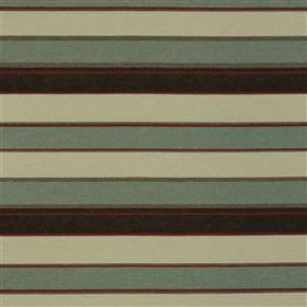 Loreta - Sky - Two shades of jade between very dark grey and maroon stripes in a horizontal design on fabric made from several materials