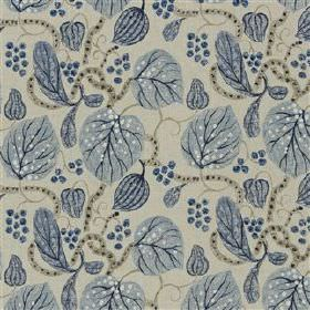 Astasia - Sky - Blue-grey coloured leaves printed in two shades with grey stems on a light grey viscose and linen blend fabric background