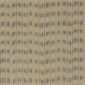 Lipari - Lavender - Grey cotton and jute blend fabric printed with dark beige vertical lines and blurred dark grey horizontal stripes