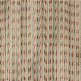 Lipari - Rose - Light grey lines printed vertically on cotton and jute fabric made with blurred horizontal beige-grey and brown stripes
