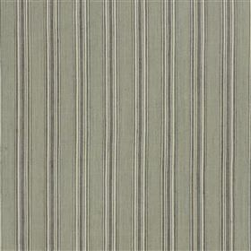 Panarea - Charcoal - Dark grey and white stripes printed in a narrow, regular, evenly spaced pattern on light green-grey cotton and jute fabri