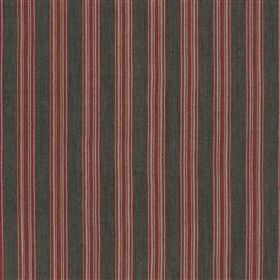 Panarea - Rose - Fabric made from dark red and grey coloured vertically striped cotton and jute with a simple, regular, evenly spaced design