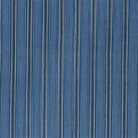 Panarea - Marine - Cotton and jute blend fabric made with a simple, regular, evenly spaced vertical stripe design in three shades of blue
