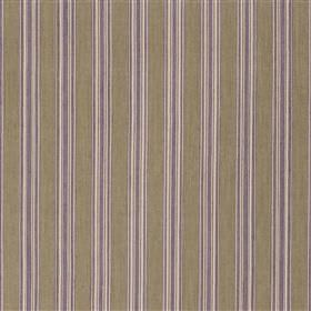 Panarea - Violet - White and light shades of purple and grey making up a regular vertical stripe design on cotton and jute blend fabric