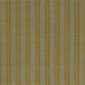 Panarea - Ochre - Fabric made from cotton and jute with a simple, regular pattern oflime green and light grey coloured vertical stripes