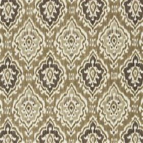 Saphia - Biscuit - Patterned diamond shapes arranged in rows on viscose and linen blend fabric in white, dark grey, beige and green-grey