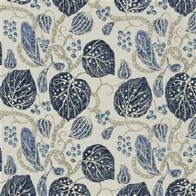 Astasia - Navy - Viscose and linen blend fabric with a pattern of leaves and stems in dusky blue, midnight blue and two shades of grey