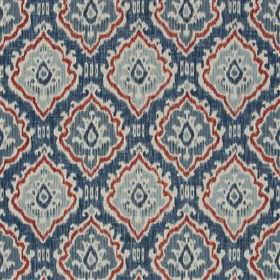 Saphia - Steel - Denim blue, powder blue, dusky blue and red coloured viscose & linen blend fabric with rows of patterned diamond shapes