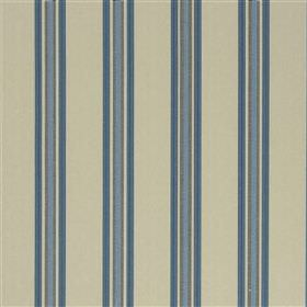 Ufra - Sky - Vertically striped fabric made from various different materials in light cream-beige and several blue and grey shades