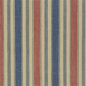 Tinato - Marine - Vertically striped jute and cotton blend fabric featuring a design in beige, denim blue and dusky shades of blue and red