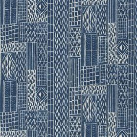 Khalana - Marine - Navy blue and white coloured viscose and linen blend fabric featuring a pattern of lines, zigzags and small geometric shapes