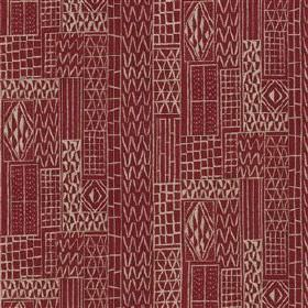 Khalana - Brick - Viscose and linen blend fabric printed with lines, zigzags and small geometric shapes in burgundy and very pale grey