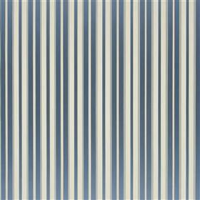 Anapa - Sky - 100% silk fabric made with a simple, regular design of vertical stripes in light grey, white, dusky blue and off-white