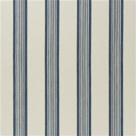 Skala - Denin - Fabric made from cream and dusky blue coloured viscose, cotton, polyester & linen with a regular vertical stripe design