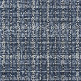 Favialla - Marine - A very patchy grid printed roughly in several light shades of grey on viscose, cotton & linen blend fabric in navy blue