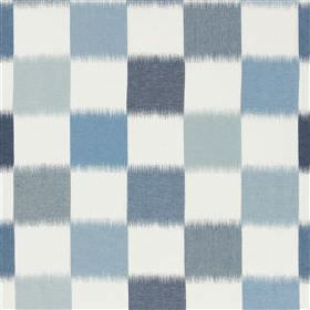 Orisso - Sky - A blurry checkerboard design printed on white 100% linen fabric in several different light and dusky shades of blue