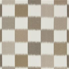 Orisso - Biscuit - Several different light shades of brown making up a blurry checkerboard design on a white 100% linen fabric background