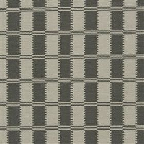Acri - Dove - Various materials making up a blended fabric in two shades of grey with a pattern of rows of different sized rectangles