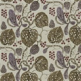 Astasia - Biscuit - Fabric made from fun leaf and stem print patterned viscose and linen in several dark shades of grey and olive green