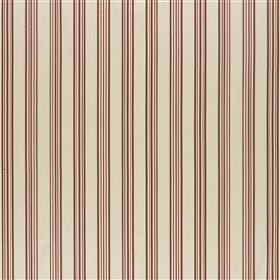 Thiva - Poppy - A thin, regular pattern of simple dark red vertical lines printed on a cream-beige coloured 100% silk fabric background