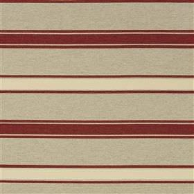 Alcamo - Rose - Horizontally striped beige, cream and burgundy coloured fabric blended from a mixture of different materials