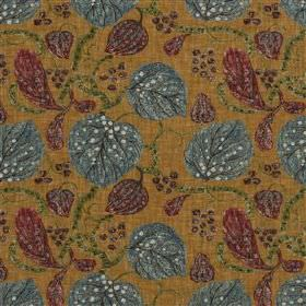 Astasia - Ochre - Toffee coloured viscose and linen fabric behind a patterned leaf and stem design in dark berry and blue-grey shades