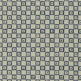 Lambaldi - Ocean - Small, concentric squares making up a checkerboard pattern on dark blue and beige fabric made from several materials