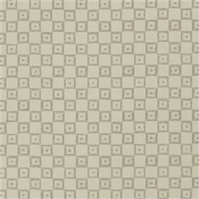 Lambaldi - Greige - Light grey and beige coloured fabric made with a concentric square and checkerboard pattern from a blend of materials