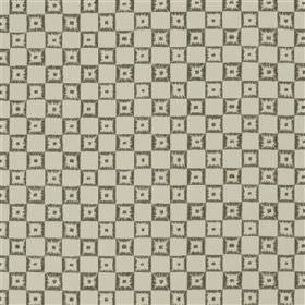 Lambaldi - Slate - Various putty and dark grey coloured materials blended into a fabric with a design of concentric squares and checkerboards
